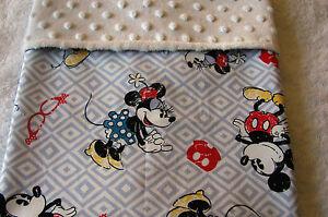 Mickey & Minnie Cotton Front White Minkee Bassinet Crib Blanket Handmade