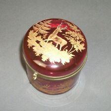 Vintage Engraved Trinket Box - Deer w/ Antlers - Ruby Glass w/ Gold - j jr