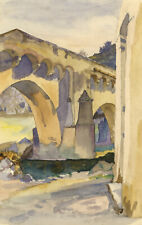 Medieval Stone Bridge, Possibly Provence – early 20th-century watercolour