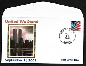 #3550 34c United We Stand Twin Towers Cachet - Unofficial FDC Hand stamped NY