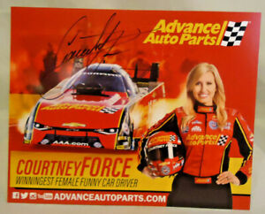 """COURTNEY FORCE AUTOGRAPHED ADVANCE AUTO PARTS FUNNY CAR LARGE 10"""" BY 8"""" CARD"""