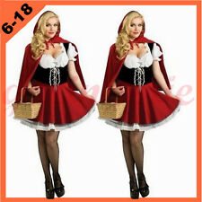 Plus Size 6-22 Adult Women Red Riding Hood Costume Halloween Fancy Dress Outfit