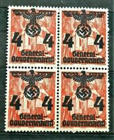 1940 ORIGINAL W.W.2 GERMAN GG BLOCK OF 4 STAMPS O/PRINT 4 GR. MNH