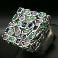 anello grande da donna zaffiri smeralidi ametista argento GIOIELLO ITALIANO