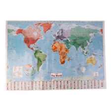 98x68cm waterproof English French Map of the World Country Flags Wall Poster
