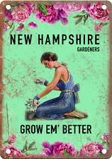 "New Hampshire Gardeners Grow Em' Better 10"" x 7"" Retro Vintage Look Metal Sign"