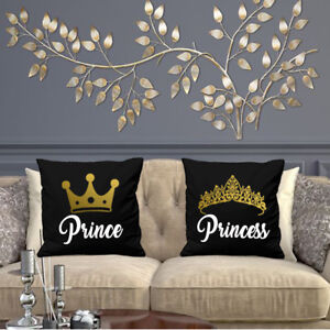 PRINCE AND PRINCESS CUSHION COVERS VALENTINES DAY COUPLES PARTNERS WEDDING GIFT