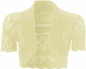 New Girls & Ladies Crochet Bolero Shrug Kids Knitted Short Sleeve Cardigan