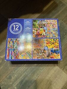 Cardinal 12 Pack Family Jigsaw Puzzles Various Scenes Food, Toys, Flowers, Color