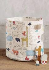 Anthropologie Animal Parade Cotton Canvas Toy Basket NEW