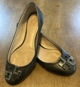 Tory Burch Lowell Leather Silver Logo Ballet Flat Black Leather Size 7 1/2 7.5