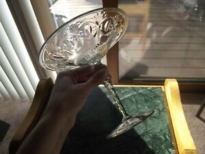"""Antique 7"""" wide Compote Comport Tazza Cut GLASS crystal Pairpoint early 1900's"""