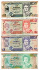 BELIZE Set $1 $2 $5 $10 Dollars (1990-1991) P-51 52 53 54 Queen Elizabeth II VF