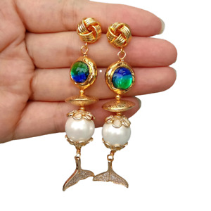 White Sea Shell Pearl Blue Murano Glass Cz Pave Fish Tail Drop Stud Earrings