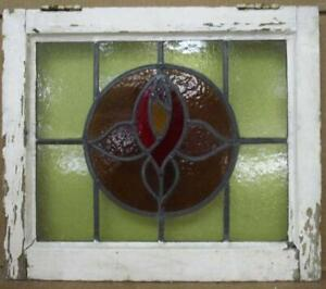 """OLD ENGLISH LEADED STAINED GLASS WINDOW Lovely Flower in Circle 19.75"""" x 17.25"""""""