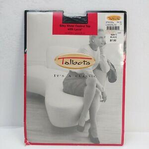 Vintage Talbots Panty Hose Nylons Size C Black Sheer Control Top Lycra USA