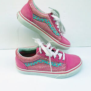 vans Girls Pink Glitter Mermaid Scales Lo Cut Sneakers Youth US Kids Size 2