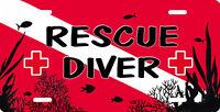 Scuba Flag Rescue Diver Auto License Plate Diving Divers First Aid