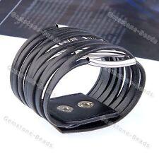 Korea Style Black Faux Leather Wire Circle Wide Bangle Bracelet Fashion Jewerly