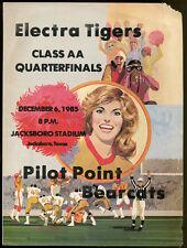 1985 Texas State AA Quarterfinal Game Program Electra v Pilot Point