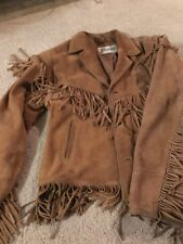 Vintage Berman's Men's Size 38 Suede Leather Fringe Tan Jacket