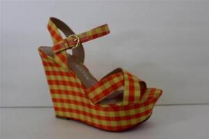 Paris Hilton Womens Orange Platform Wedge High Heel Sandal Shoe Size 7 & 7.5 M