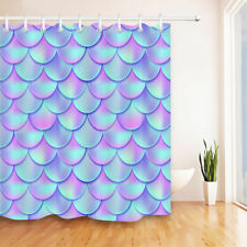 "71"" Abstract Mermaid Scales Bathroom Shower Curtain Set Waterproof Fabric Hooks"