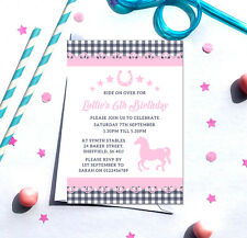 Pony themed Birthday Party Invitations *Any Age* - pack of 10 with envelopes