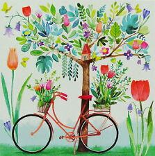 Mila Marquis*Postkarte 14x14 Fahrrad mit Frühling(s)-Blumen Grußkarte*Lack 2018