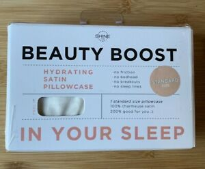 Shine by Night Satin Beauty Boost 1 Standard Size Pillowcase White NEW!