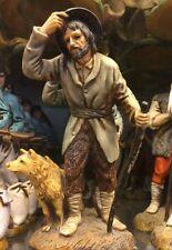 1 pastore landi 13 cm uomo con cane e bastone cappello presepe crib shereped