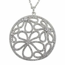 Open Circle White CZ Flowers Filigree Sterling Silver Necklace Pendant