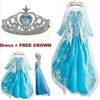 Robe Déguisement. Costume La Reine des Neiges Frozen Elsa Anna Enfant +couronne