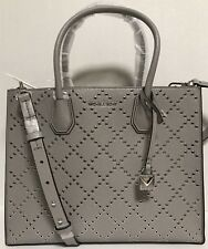 NEW Michael Kors Large Mercer Stud & Grommet Grey Leather Tote Handbag $378