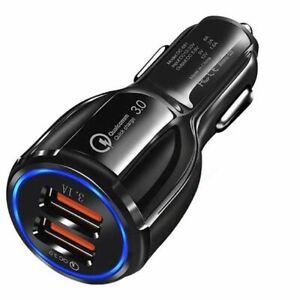 USB Car Socket Phone Fast Charger 12V Cigarette Lighter Power Adapter Plug Black