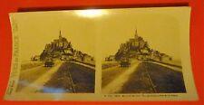 Ancienne photo stéréo Mont-Saint-Michel Vu général prise de la digue