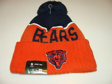Chicago Bears Knit On Field New Era Toque Beanie Retro Sideline NFL Cap Hat Pom