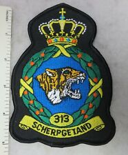 DUTCH ROYAL NETHERLANDS AIR FORCE 313 SQUADRON TIGER PATCH Merrowed Edge Black