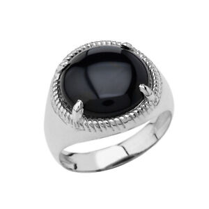.925 Sterling Silver Men's Black Onyx Bold Solitaire Ring
