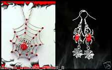 HALLOWEEN RED SPIDER WEB NECKLACE AND EARRINGS~COSTUME JEWELRY SET FOR WOMEN