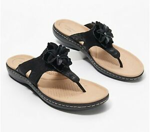 Clarks Collection Leather Floral Thong Sandals -Laurieann Gema Black 9 Wide NIB