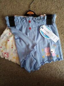Girls X2 Peppa Pig Shorts 2-3 Years BNWT