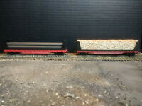TYCO Set of TWO (2) Bulkhead Flats w/ loads - SOUTHERN RAILROAD #4365 - HO scale