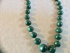 Vintage green jade necklace jadite beaded strand Japan beads asian round jade