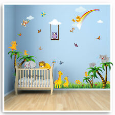 Animal Wall Stickers Decals Jungle Zoo Lion Owl Nursery Baby Kids Room Mural Art
