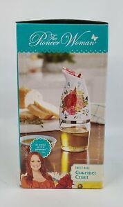 "The Pioneer Woman Gourmet Cruet, Sweet Rose Pattern. 7"" Tall, 5oz Capacity, NEW"