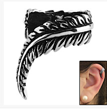 Surgical Steel Feather Design Clip On Ear Cuff Wrap