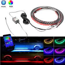 4x Auto RGB LED Streifen Stripe Licht Unterbodenbeleuchtung App Musik Control