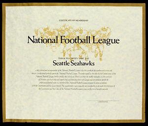 Original 1976 Certificate of Membership NFL Seattle Seahawks Rare