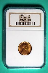 1940 S NGC MS66 RD Lincoln Wheat Cent #B25769